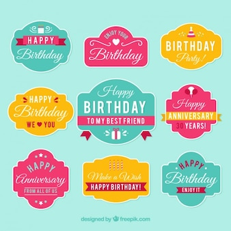 Elegant and cheerful pack of birthday badges