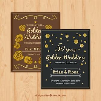 Elegant and cute golden wedding cards