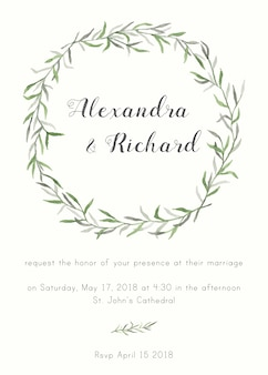 Elegant and cute wedding invitation with floral elements