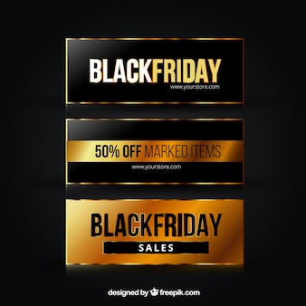 Elegant and golden banners of black friday