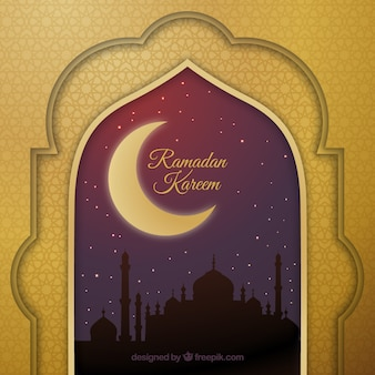 Elegant and golden ramadan background