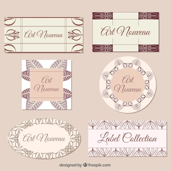 Elegant art nouveau labels