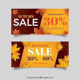 Elegant autumn sale banners