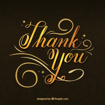 Elegant background of golden lettering with the text  thank you