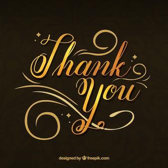 「ありがとう」というテキストの金色のレタリングのエレガントな背景