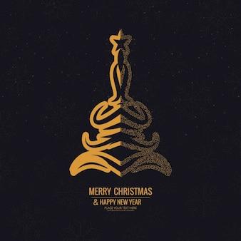 Elegant background of golden ornamental christmas tree