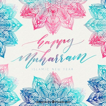 Elegant background of islamic new year watercolor
