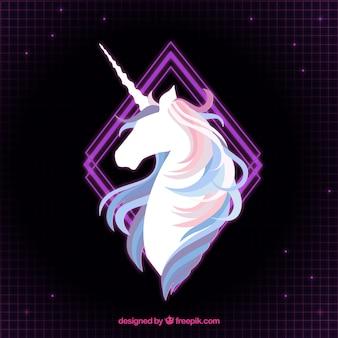 Elegant background of unicorn and purple rhombus