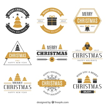 Elegant badge collection of merry christmas