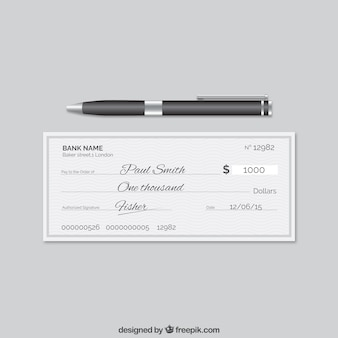 Elegant bank cheque