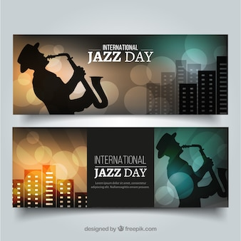 Elegant banners with saxophonist