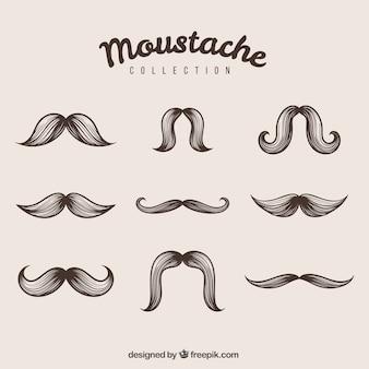 Elegant beautiful hand-drawn mustaches