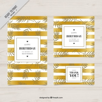 Elegant birtday cards with golden stripes and leaves