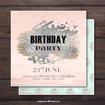 Elegant birthday invitation with silver paint