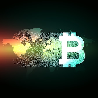 Elegant bitcoin design on world map