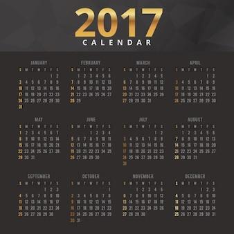 Elegant black and gold calendar 2017