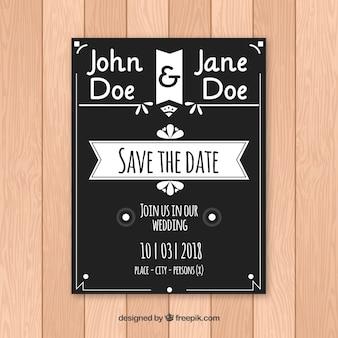 エレガントな黒と白の結婚式の招待状