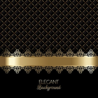 Elegant black luxury background with golden ornaments