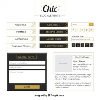 Elegant blog elements set