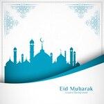 Elegant blue and white eid mubarak design