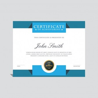 Elegant blue certificate template