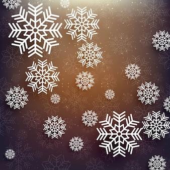 Elegant brown background with white snowflakes