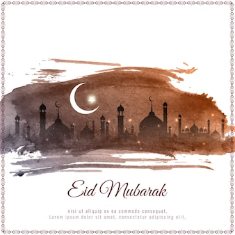 Elegant brown eid mubarak vector design