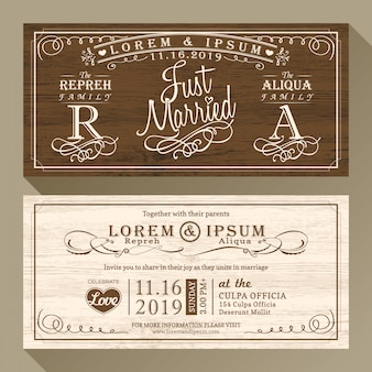 Elegant brown wedding invitations
