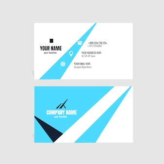 Elegant buisness card with white and blue color design