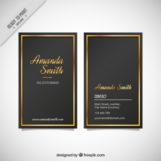 Elegant business card with a golden frame