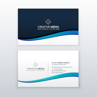 Elegant business card with blue wave