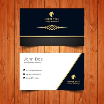 Elegant business card with golden ornament