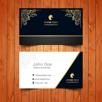 Elegant business card with golden ornaments