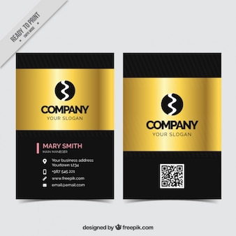 Elegant business card with golden shapes