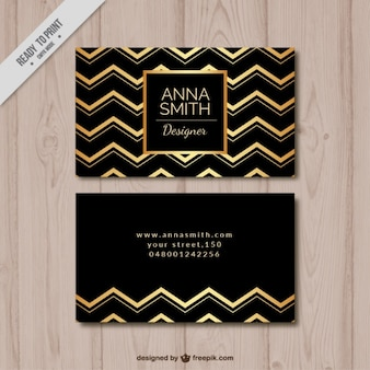 Elegant business card with golden zigzag lines