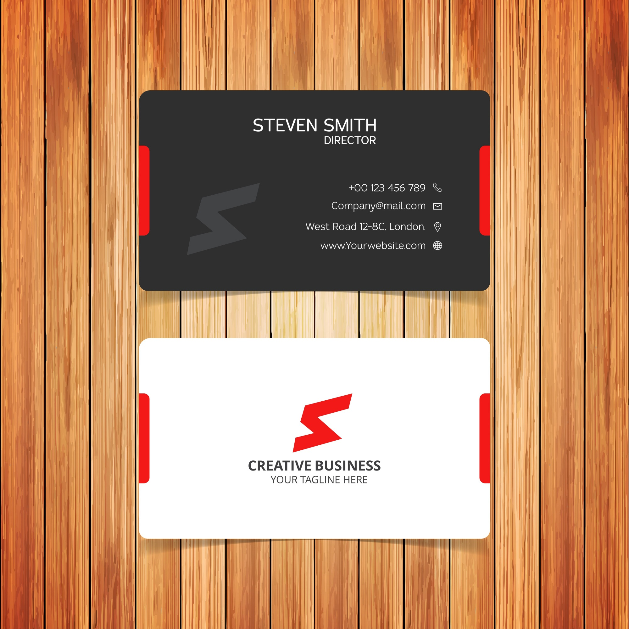 Elegant business card with red details
