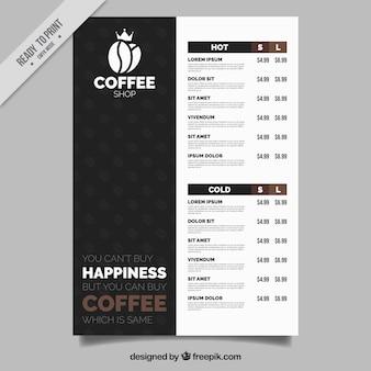 Elegant cafe menu