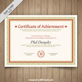 Elegant certificate of achievement with ornaments