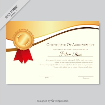 Elegant certificate of achievement with wavy golden forms