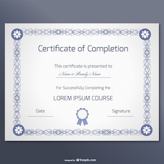 Elegant certificate of completion template