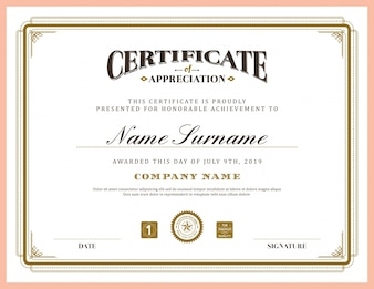 Elegant certificate with an ornamental frame