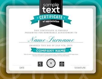 Elegant certificate with blue details