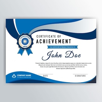 Elegant certificate with blue wavy elements