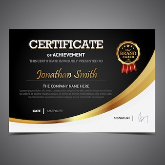 Elegant certificate with golden details