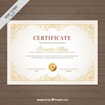 Elegant certificate with golden seal