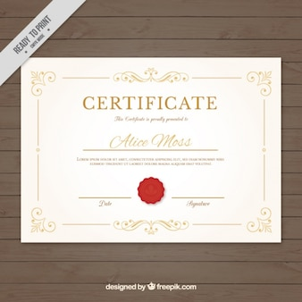 Elegant certificate with red seal
