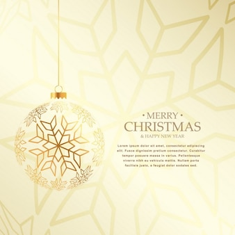 Elegant christmas background with hanging golden ball made with snaowflakes
