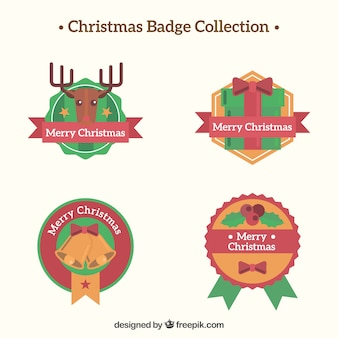 Elegant christmas badge collection