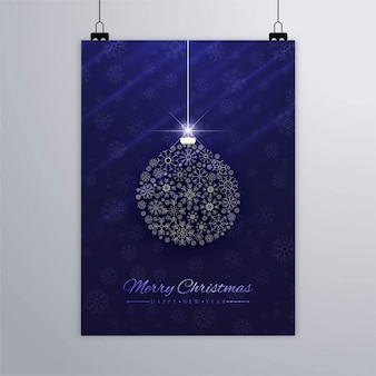 Elegant christmas ball poster made of snowflakes