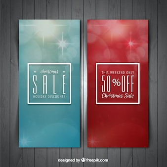 Elegant christmas banners with discounts